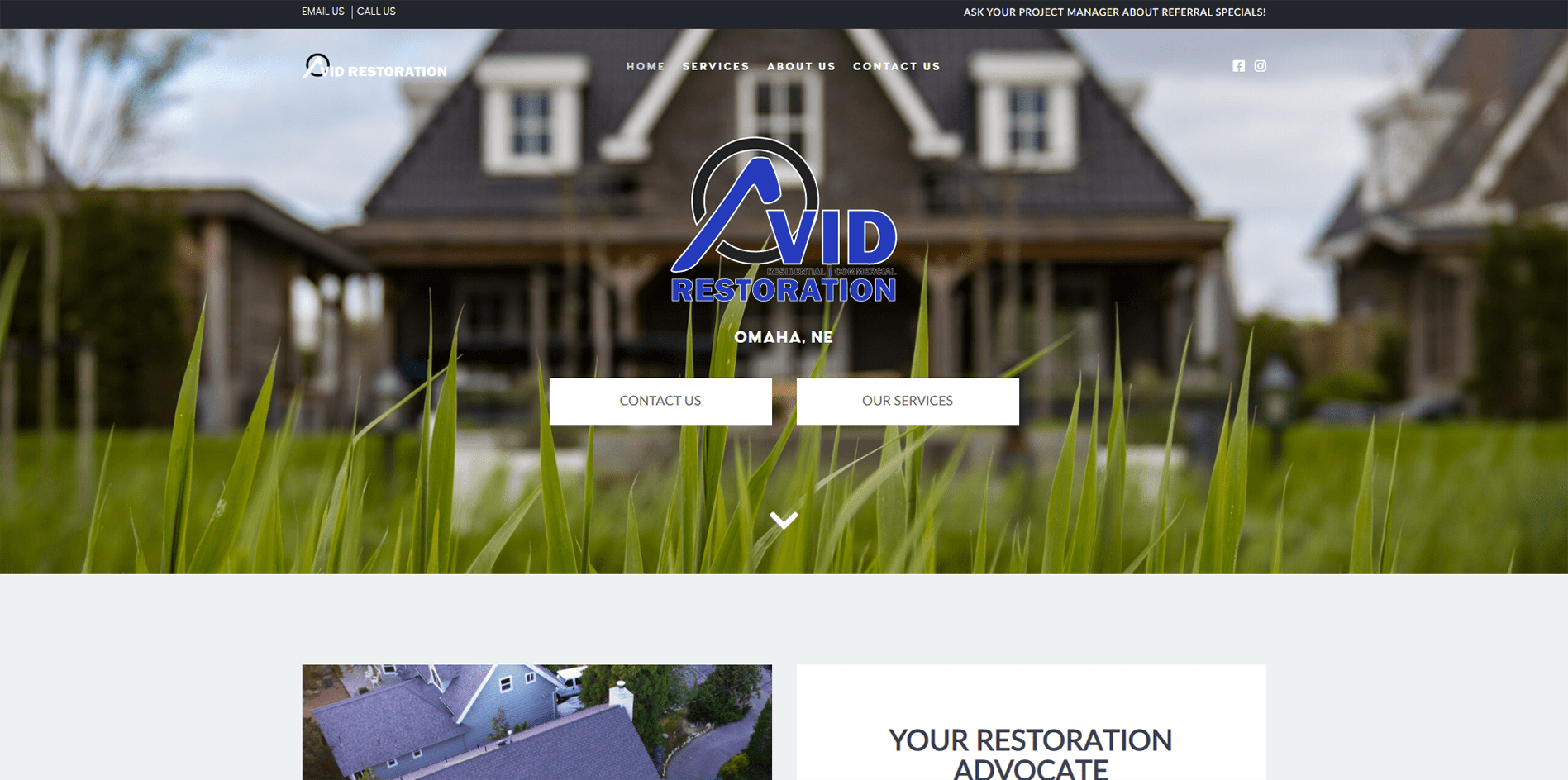 Avid Restoration - Omaha website portfolio